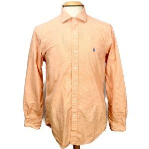Ralph Lauren Polo Button Up Shirt Orange Gingham